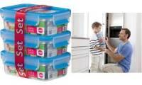 emsa Frischhaltedose CLIP & CLOSE, 3er Set, 1,20 Liter, blau