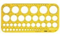 M+R Lochkreisschablone 1-36 mm, gelb-transparent
