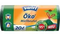 swirl Öko-Mülleimerbeutel, mit Zugband, grün, 35 Liter