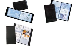 sigel Visitenkarten Mappe Lederoptik schwarz matt Album für 120 Karten