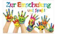 SUSY CARD Schulanfangs-Grußkarte bemalte Hände