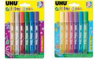 UHU Glitzerkleber Glitter Glue Shiny, Inhalt: 6 x 10 ml