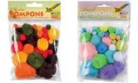 folia Pompons, 30 Stück, Größen sortiert, Pastellfarben